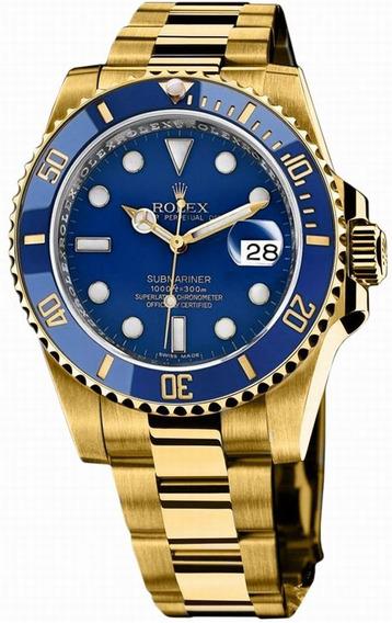 Relógio Mne5567 Submariner Azul Puls. Banhada Ouro 18k