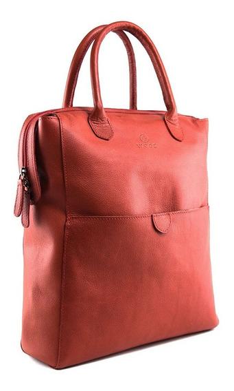 Mochila Backpack De Dama 100% Piel Convertible A Bolso Woge