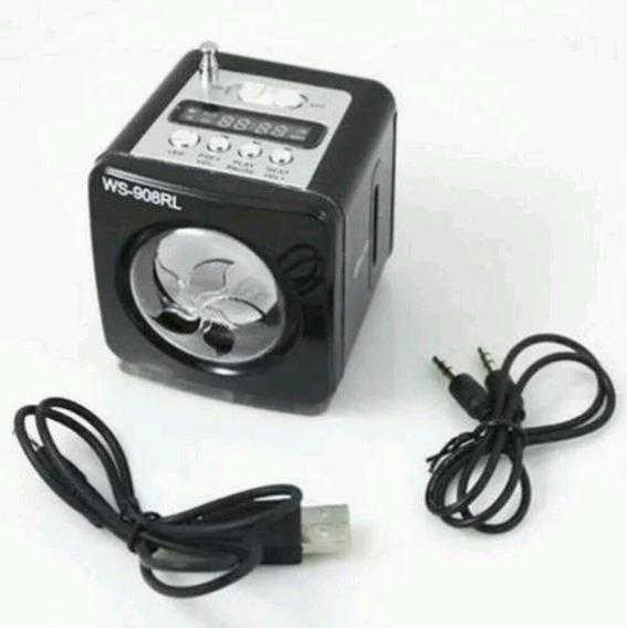 Mini Caixa Som Mp3 Rádio Fm Digital Usb Sd Pen Drive Ws908