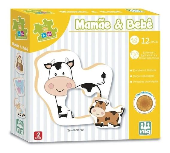Quebra Cabeça Mamãe E Bebê 12 Peças Em Madeira - 0413 Nig