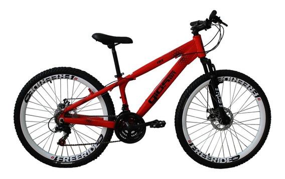 Bicicleta Mtb Freeride Aro 26 21 Vel Vermelho Neon Gios Frx