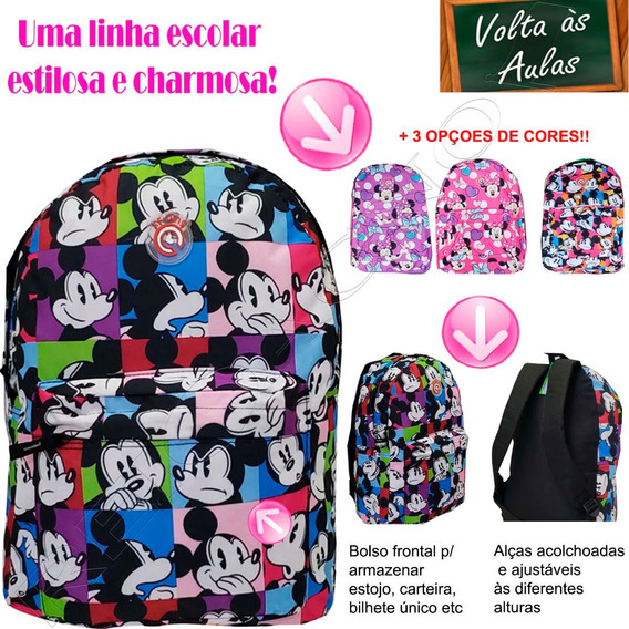 Mochila Infantil Escola Menino Mickey Menina Minnie 01819xfp