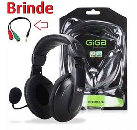 Fone Ouvido Headset C/ Microfone Gamer Pc + Adaptador P2 Ps4