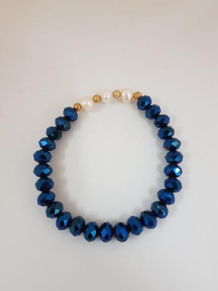 Cristal Con Perlas Y Chapa De Oro