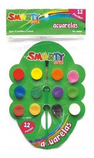Acuarela Smarty 12 Colores - 10 Pzas
