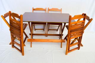 Jogo De Mesa De Bar 120x70 + 4 Cadeiras Dobráveis Em Madeira
