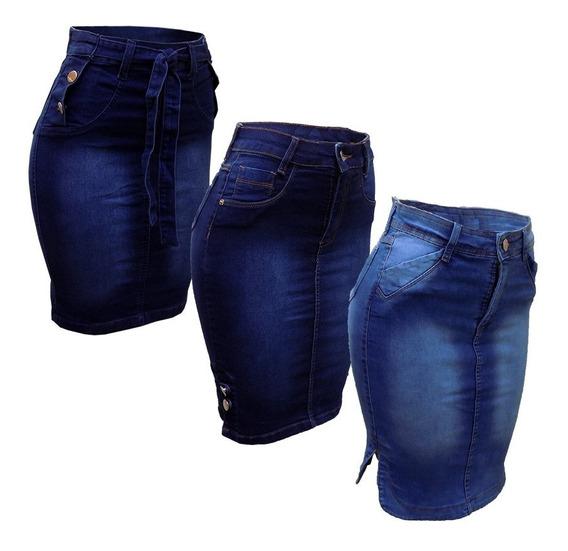 Saia Jeans Evangélica Secretária Midi Sino Babado Kit C/3