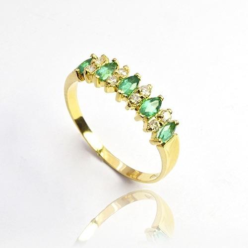 Meia Aliança Ouro 18k Com 8 Diamantes E 5 Esmeraldas