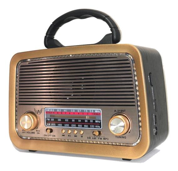 Caixa De Som Retro Antiga Rádio Fm Am Portátil Bluetooth Usb