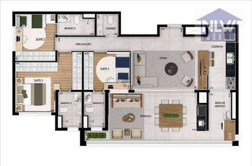 Imagem 1 de 13 de Apartamento Com 3 Dormitórios À Venda, 113 M² Por R$ 1.113.000,00 - Tatuapé - São Paulo/sp - Ap4112