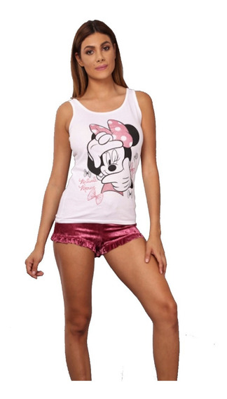 Pijama Para Mujer Ropa Para Dormir Disney Estampado Minnie Mouse Playera Sin Manga Y Short De Terciopelo Rosa 8081