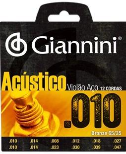 Jogo De Cordas Violão Aço 12 Cordas 010 Acústico Giannini