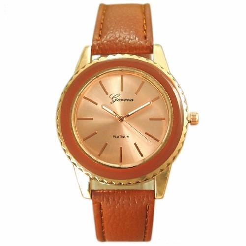Relógio Dourado Geneva Feminino Vários Modelos