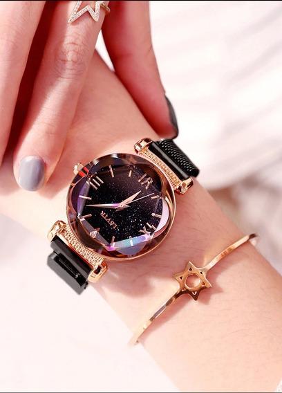 Relógio Feminino Céu Estrelado Elegante Pulseira Magnética.