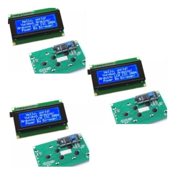 Kit 3 Und Display Lcd 20x4 + I2c Back Azul P/ Pic Arduíno