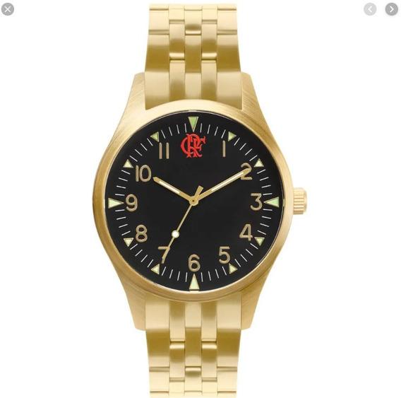 Relógio Technos Flamengo Dourado E Preto Nf Fla2035mnn/4d