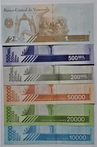 Set 6 Billetes Venezuela 10.000 A 1.000.000 2019-2020 Unc