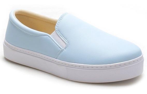 Tenis Plataforma Feminino Azul Sem Cadarço Com Elástico Leve
