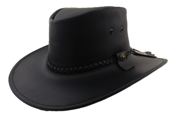 Sombrero Explorador De Piel Trenzas Canyon Hats Color Negro