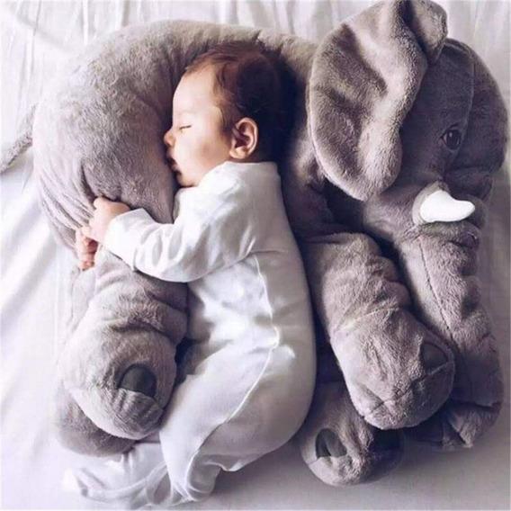 Elefante De Pelúcia 60cm Travesseiro Almofada Bebe Dormir Kit Com 2 Elefantes