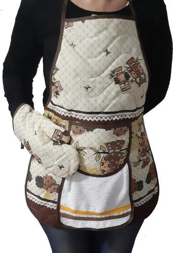 Imagem 1 de 10 de 4 Avental De Cozinha C/ Bolso E Luva Impermeável Não Molha
