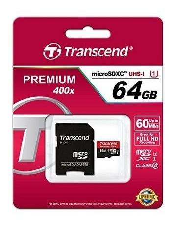Cartão De Memoria Micro Sd 64gb Classe 10 60mbs Transcend