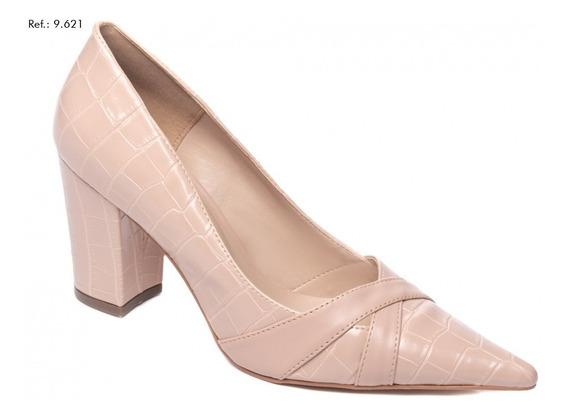 Sapato Feminino Scarpin Salto Alto Grosso Rose Bico Fino