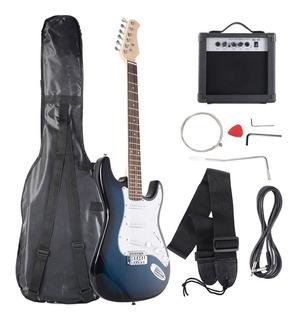 Kit Guitarra Electrica Azul Con Amplificador + Funda ++