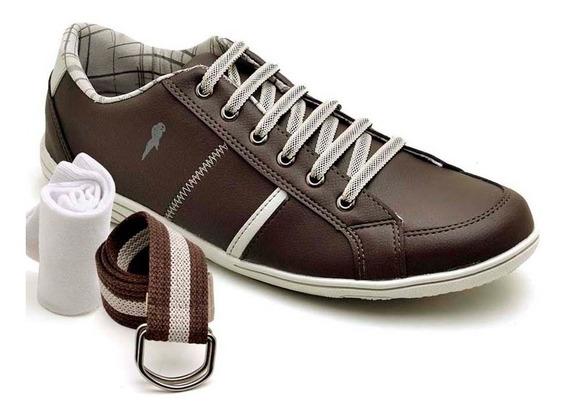 Sapatenis Kit Cinto E Meia Polo Blu Tenis Sapato 120 Barato