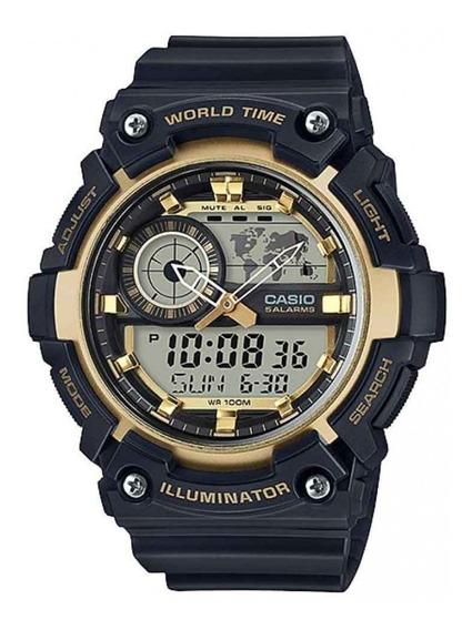 Relógio Casio Masculino World Time Anadigi Aeq200w9avdf