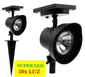 Luminária Solar Spot Jardim 20xluz Verde Kit 7