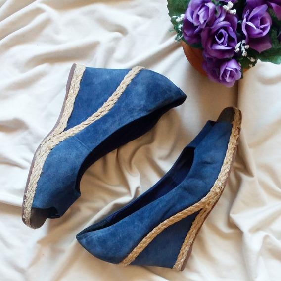 Sapato Anabela Azul Marca Arezzo Original Usado Desapego