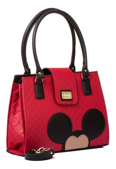 Bolsas Femininas Mickey Mouse Forrada Alça Transversal Em Couro Ecológico Até 7 Cores Exclusivo