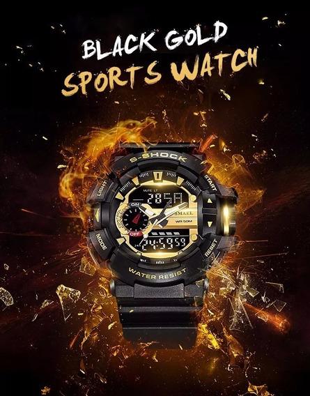 Relógio Militar Smael 1436 Prova D´agua Dourado Lançamento