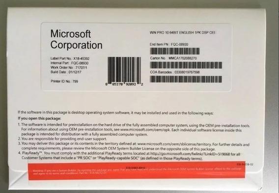 Windows 10 Professional Box Lacrado Com Mídia E Nota Fiscal