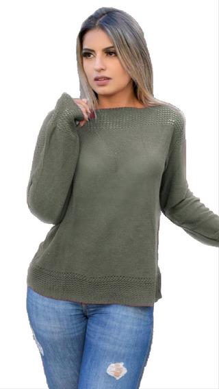 Blusa Suéter Trico Feminino Manga Longa Trabalhada