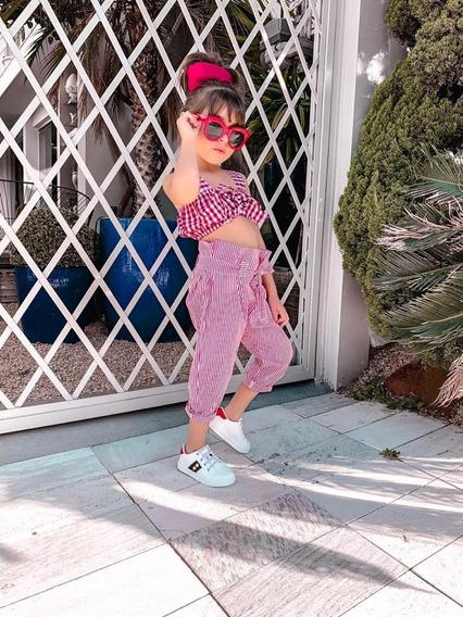 Roupas Infantil Menina Cropped E Calça Xadrez Listrado