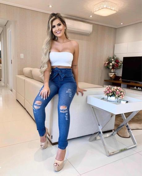 Calça Jeans Feminina Skinny Lycra Clochart Detalhe Tendencia