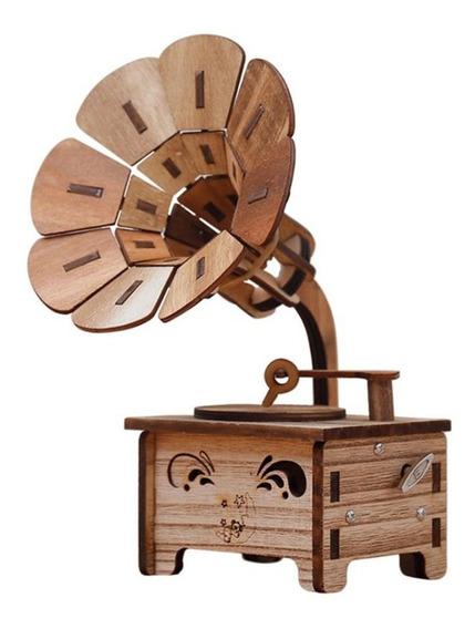 Gramofone Em Forma De Caixa De Música Vintage Romântico Mão