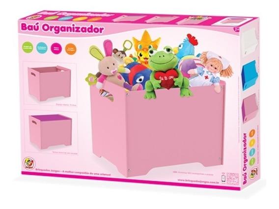 Organizadora De Brinquedos Em Mdf Bau Organizador 2em1 Rosa