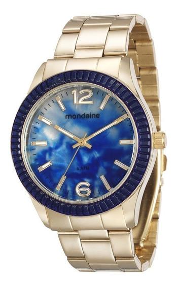 Relógio Mondaine Feminino Dourado Azul Luxo Original