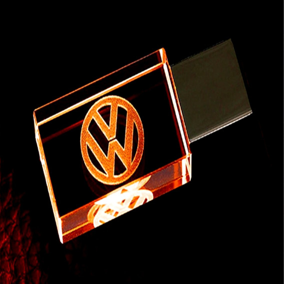 Pen Drive 32gb Cristal Led Volkswagen Laranja C/ Estojo