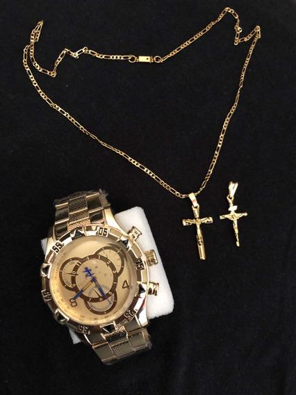 Relógio Masculino Aço+ Corrente 60cm+2 Ping Cruz Banhado 18k
