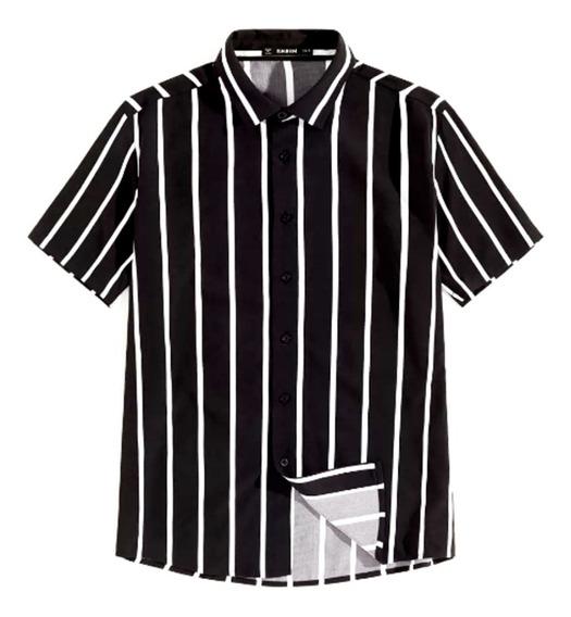 Camisa De Manga Corta De Rayas Verticales Color Muy Negro