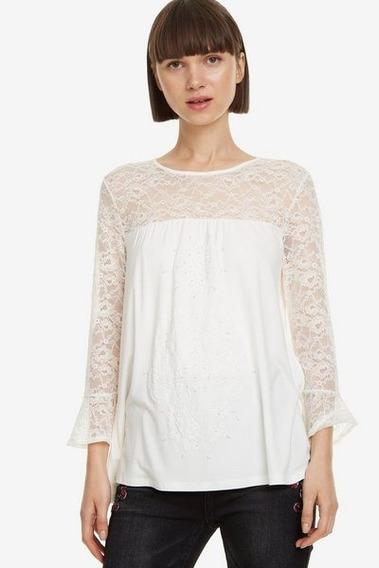 Blusa Manga Larga Textil Blanco Desigual