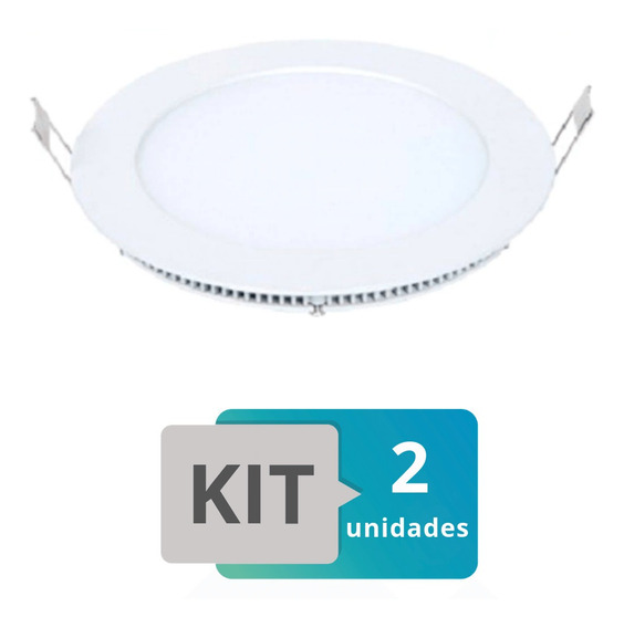Kit 2 Painel Plafon Led Embutir Slim Redondo 18w Branco Frio