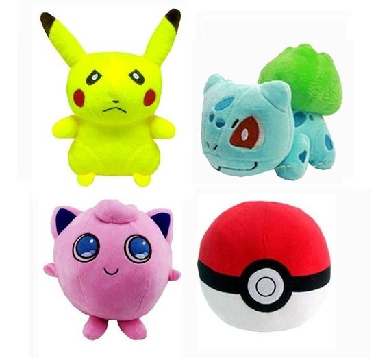 Kit 4 Pelucia Pokemon Pikachu Pokebola Charmander Bubassauro