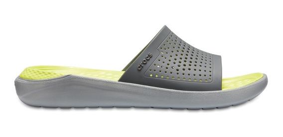 Sandalia Unisex Crocs Literide Slide Gris Claro / Amarillo