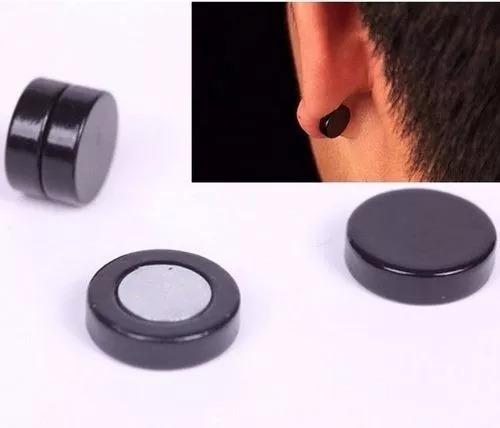 1 Par Brinco Falso Alargador De Imã Pressão Inox Preto 10mm