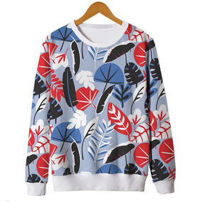 Blusas Femininas Moletom Roupa Floral Minimalista Retro 4 Mt